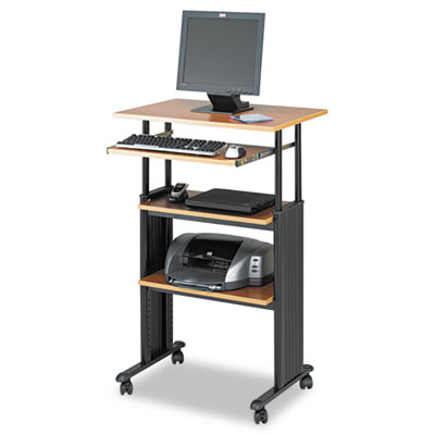 Adjustable Height Stand-Up Workstation, 29w x 22d x 49h, Oak/Bla