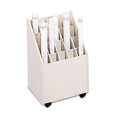 Laminate Mobile Roll Files, 20 Compartments, 15-1/4w x 13-1/4d x