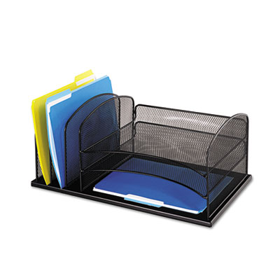 Desk Organizer, Six Sections, Steel Mesh, 19 3/8 x 11 3/8 x 8, B