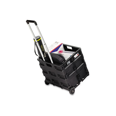 Stow And Go Cart, 16-1/2 x 14-1/2 x 39, Black