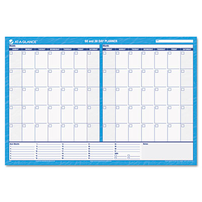 30/60-Day Undated Horizontal Erasable Wall Planner, 48 x 32, Blu