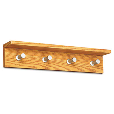 Contempo Wood Wall Rack, 4-Hook, Medium Oak