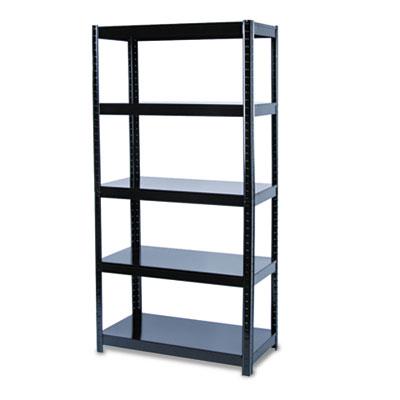 Boltless Steel Shelving, Five-Shelf, 36w x 18d x 72h, Black
