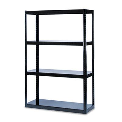 Boltless Steel Shelving, Five-Shelf, 48w x 18d x 72h, Black