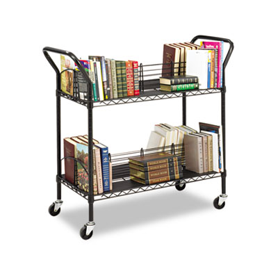 Wire Book Cart, Steel, Four-Shelf, 44w x 18-3/4d x 40-1/4h, Blac