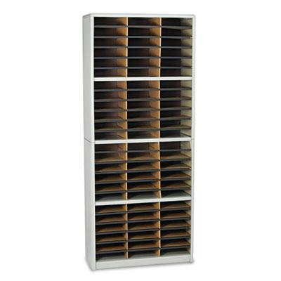 Steel/Fiberboard Literature Sorter, 72 Sections, 32 1/4 x 13 1/2