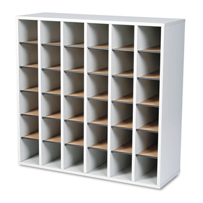 Wood Mail Sorter with Adjustable Dividers, Stackable, 36 Compart