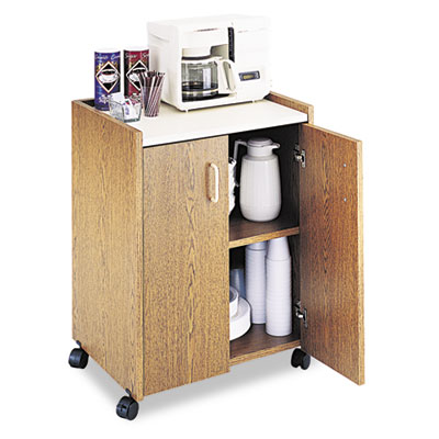 Mobile Refreshment Center, One-Shelf, 23w x 18d x 31h, Medium Oa