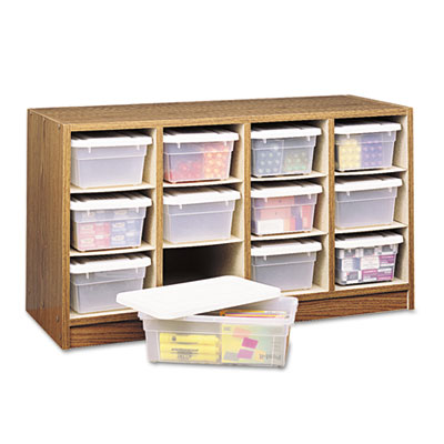 Modular Wood/Plastic 12 Bin Supplies Organizer, 34 x 13 x 19, Me