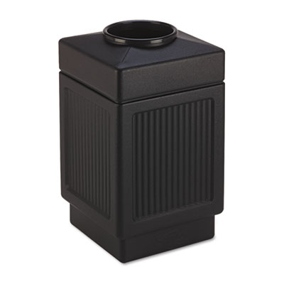 Canmeleon Top-Open Receptacle, Square, Polyethylene, 38gal, Text