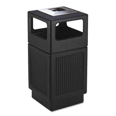 Canmeleon Ash/Trash Receptacle, Square, Polyethylene, 38gal, Tex
