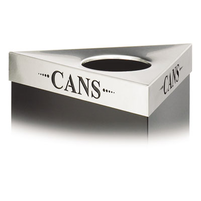 "Trifecta Waste Receptacle Lid, Laser Cut ""CANS"" Inscription, Sta"