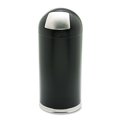 Dome Receptacle w/Spring-Loaded Door, Round, Steel, 15gal, Black
