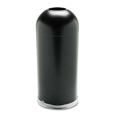 Open-Top Dome Receptacle, Round, Steel, 15gal, Black