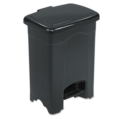 Step-On Receptacle, Rectangular, Plastic, 4gal, Black