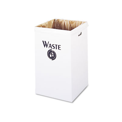 Corrugated Waste Receptacle, Square, 40gal, White, 12/Carton