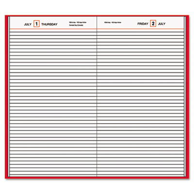 "Standard Diary Recycled Daily Diary, Red, 7 11/16"" x 12 1/8"""