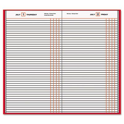 "Standard Diary Recycled Daily Journal, Red, 7 11/16"" x 12 1/8"""