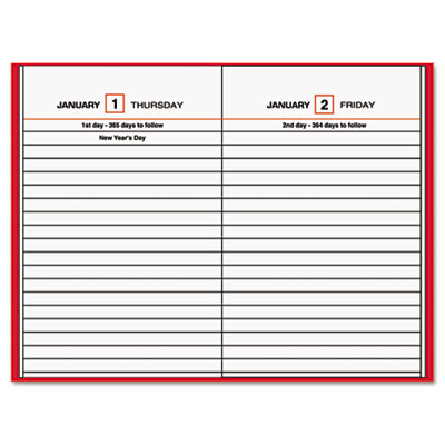 Standard Diary Recycled Daily Reminder, Red, 4 3/16 x 6 1/2