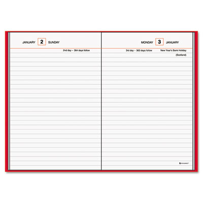 "Standard Diary Recycled Daily Reminder, Red, 5"" x 7 1/2"""