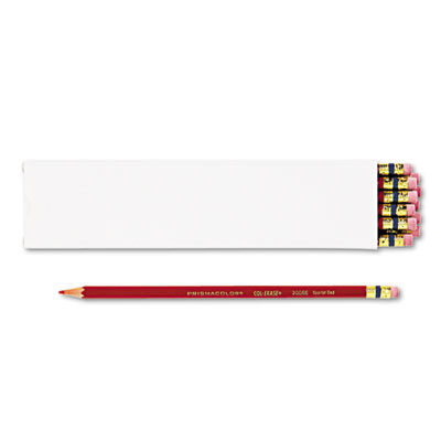 Col-Erase Pencil w/Eraser, Scarlet Red Lead/Barrel, Dozen