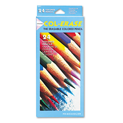 Col-Erase Colored Woodcase Pencils w/ Eraser, 24 Assorted Colors
