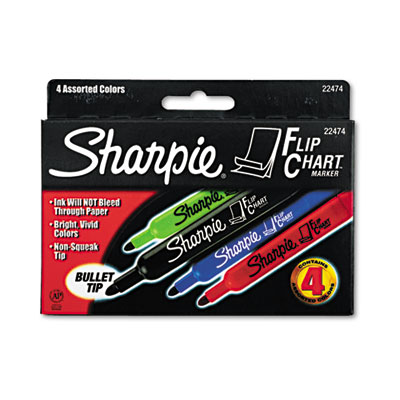 Flip Chart Markers, Bullet Tip, Four Colors, 4/Set