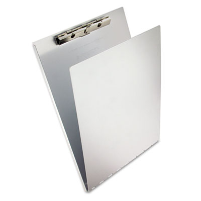 "Aluminum Clipboard w/Writing Plate, 3/8"" Capacity, Holds 8-1/2w"