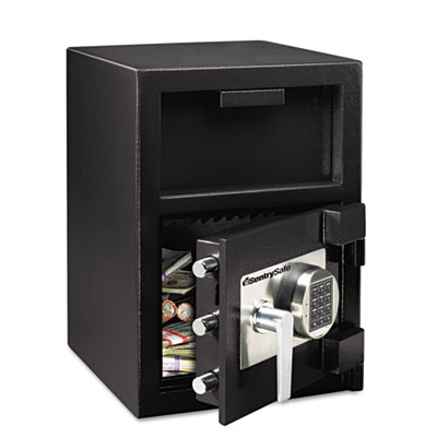 Depository Safe, 1.09 ft3, 14w x 15-3/5d x 24h, Black