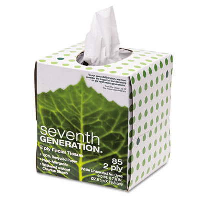 100% Recycled Facial Tissue, 2-Ply, Pop-up Cube Box