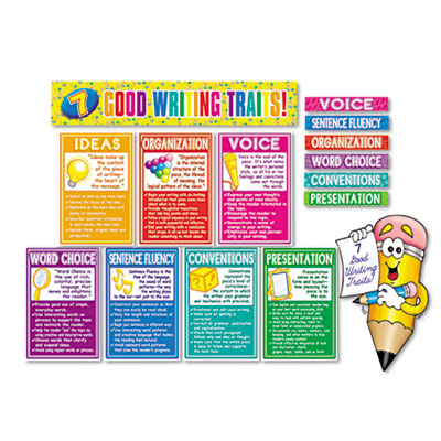 "7 Good Writing Traits Bulletin Board Set, 12"" x 18"", 1 set"