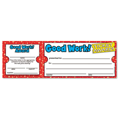Good Work Ticket Awards, 8 1/2w x 2 3/4h, 100 2-Part Tickets/Pac