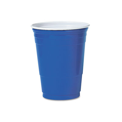 Plastic Party Cold Cups, 16oz, Blue, 50/Bag, 20 Bags/Carton