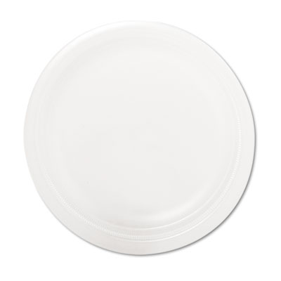 "Foam Plate, 9"" dia, White, 125/Pack"