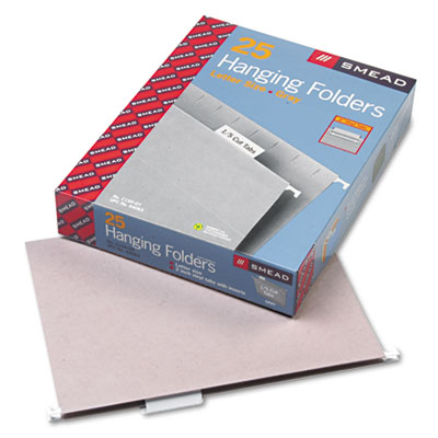 Hanging File Folders, 1/5 Tab, 11 Point Stock, Letter, Gray, 25/