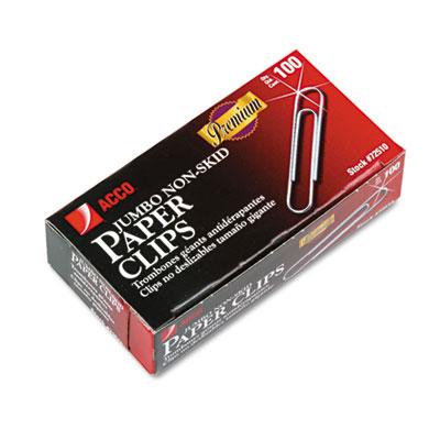Nonskid Premium Paper Clips, Wire, Jumbo, Silver, 100/Box, 10 Bo