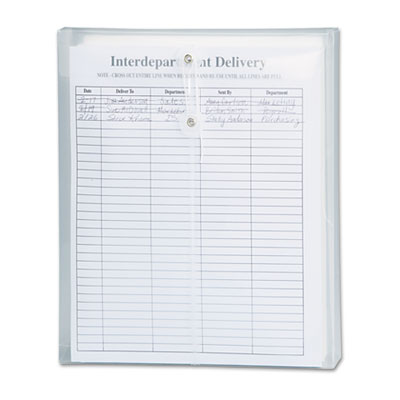 Poly String & Button Envelope, 9 3/4 x 11 5/8 x 1 1/4, Clear, 5/