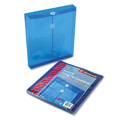 Poly String & Button Envelope, 9 3/4 x 11 5/8 x 1 1/4, Blue, 5/P