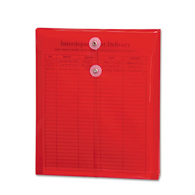 Poly String & Button Envelope, 9 3/4 x 11 5/8 x 1 1/4, Red, 5/Pa