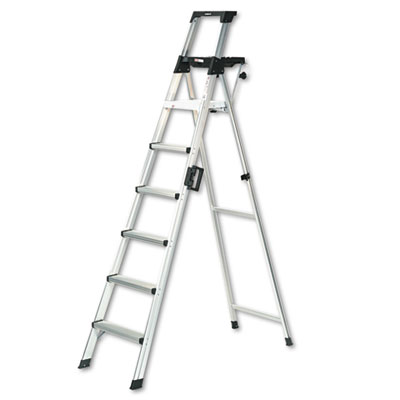 Eight-Foot Lightweight Aluminum Folding Step Ladder w/Leg Lock &