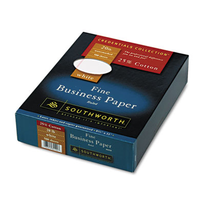25% Cotton Business Paper,White w/Red Rules 20 lb, Wove, 8-1/2 x