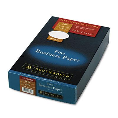 25% Cotton Business Paper, White, 20 lbs., Wove ,8-1/2 x 14, Leg