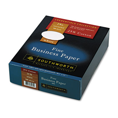 25% Cotton Business Paper, White, 24 lbs., Wove, 8-1/2 x 11, 500