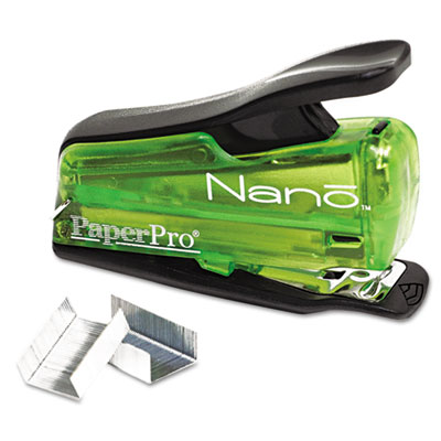 Nano Miniature Stapler, 12-Sheet Capacity, Translucent Green