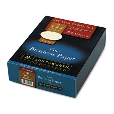25% Cotton Business Paper, Ivory, 24 lbs., Wove, 8-1/2 x 11,  50