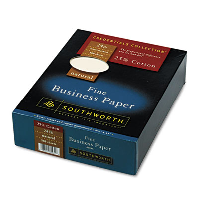 25% Cotton Business Paper, Natural, 24 lbs., Wove, 8-1/2 x 11,
