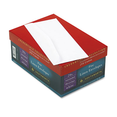 25% Cotton #10 Envelope, White, 24 lbs., Linen, 250/Box, FSC