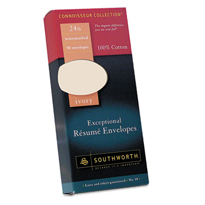 100% Cotton #10 Resume Envelope, Ivory, 24 lbs., Wove, 50/Box