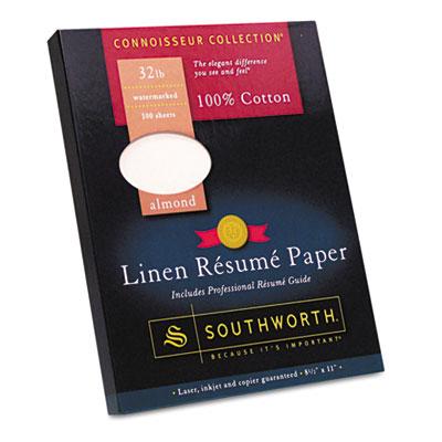 100% Cotton Linen Resume Paper, Almond,  32 lbs., 8-1/2 x 11, 10