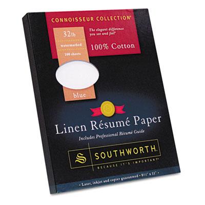 100% Cotton Linen Resume Paper, Blue, 32 lbs., 8-1/2 x 11, 100/B
